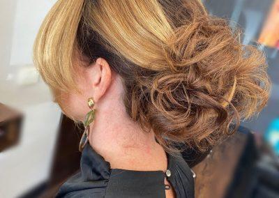 Ladies Swept fringe pinned up bun